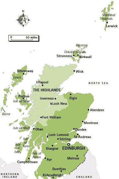 Cartina Geografica Della Scozia Mappa O Carta Mapa Map Of Scozia