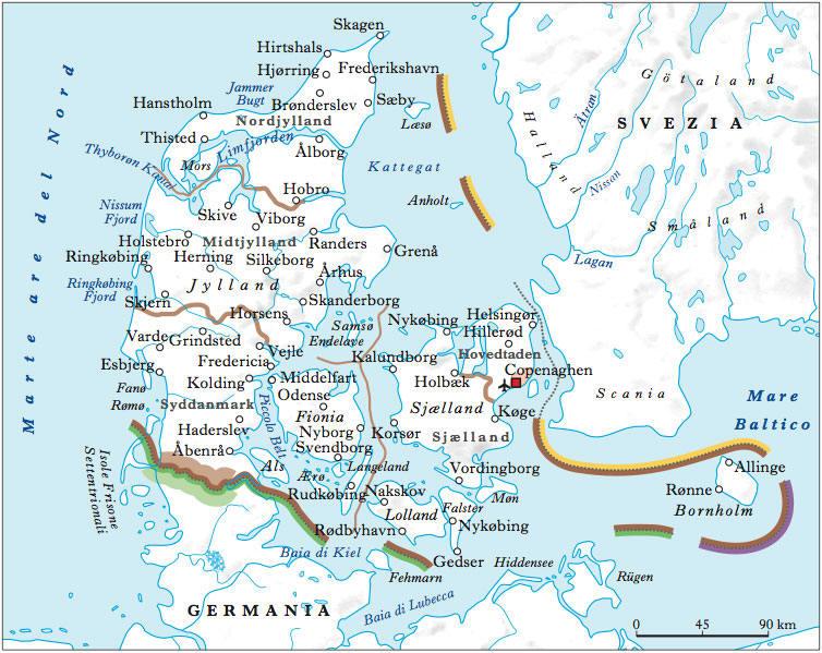 Cartina Della Danimarca.Cartina Geografica Della Danimarca Mappa O Carta Mapa Map Of