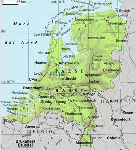Cartina Olanda Fisica.Cartina Geografica Dell Olanda Paesi Bassi Mappa O Carta
